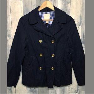 J. Crew Indigo Cropped Pea Coat Jacket Chambray